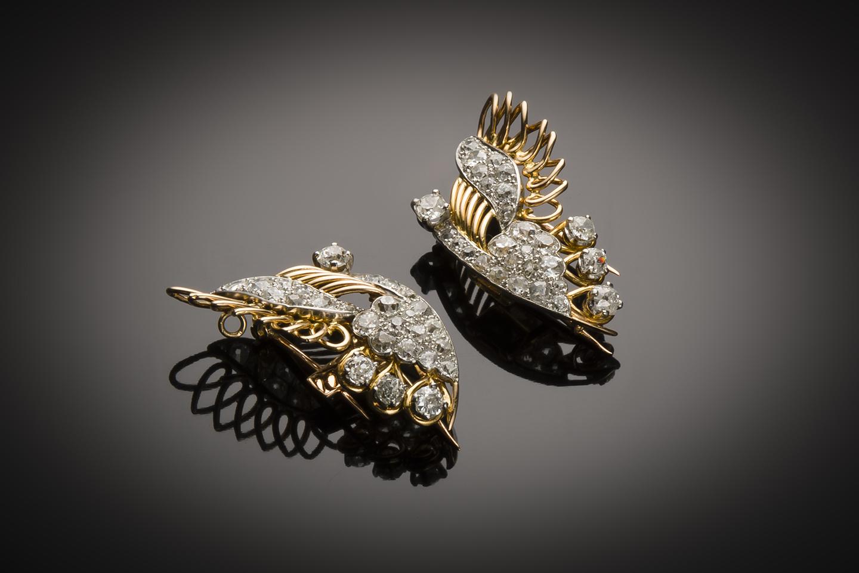 Broche papillon transformable (double-clip – pendentif) diamants vers 1940-3