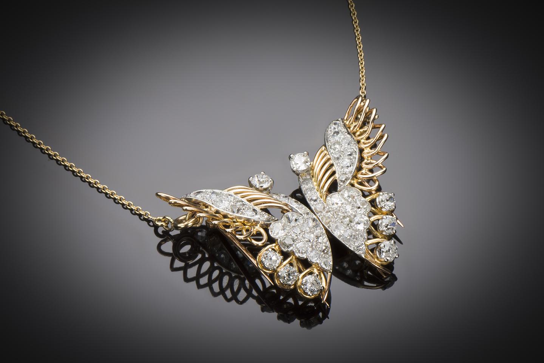 Broche papillon transformable (double-clip – pendentif) diamants vers 1940-2