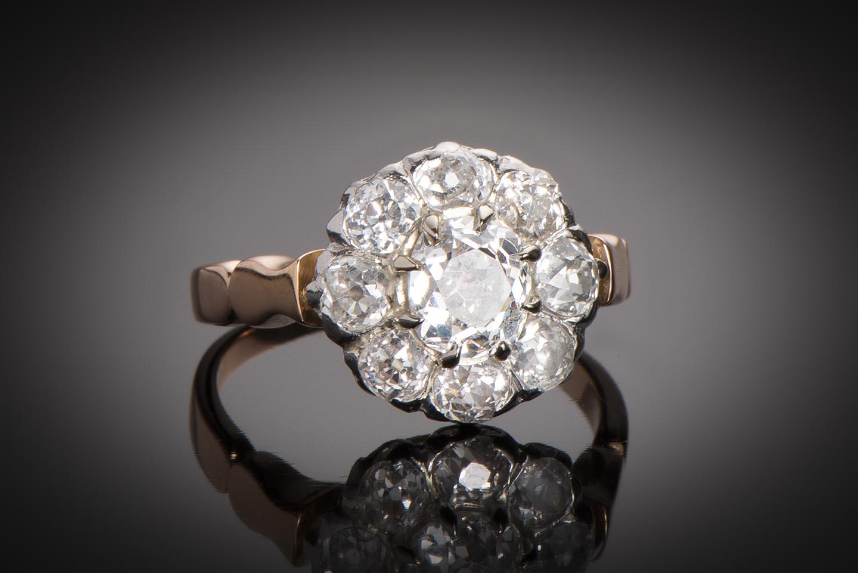 Bague fin XIXe siècle diamants (1,60 carat)-1