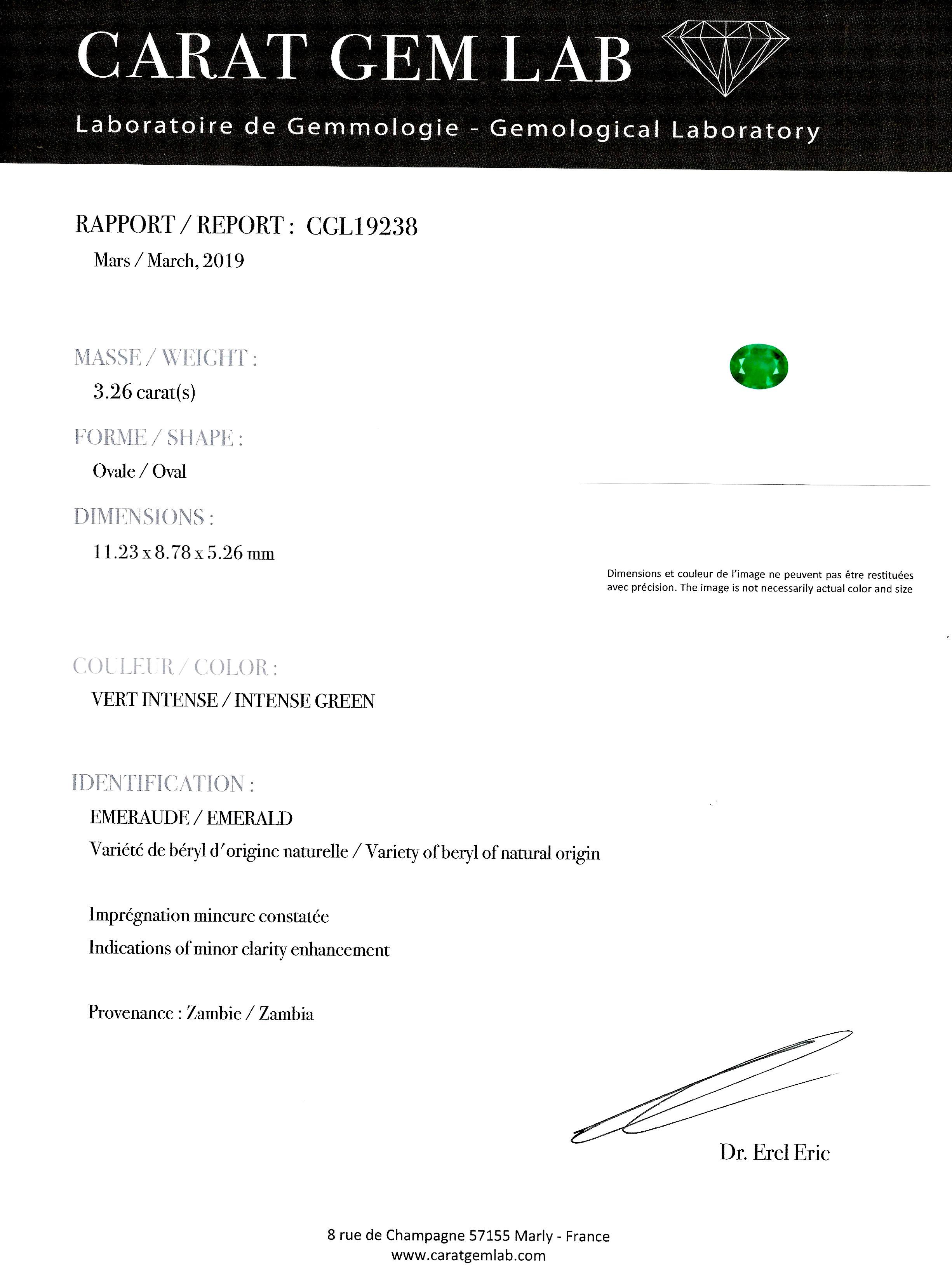 Bague émeraude vert intense (3,26 carats – Certificat CGL) diamants-3