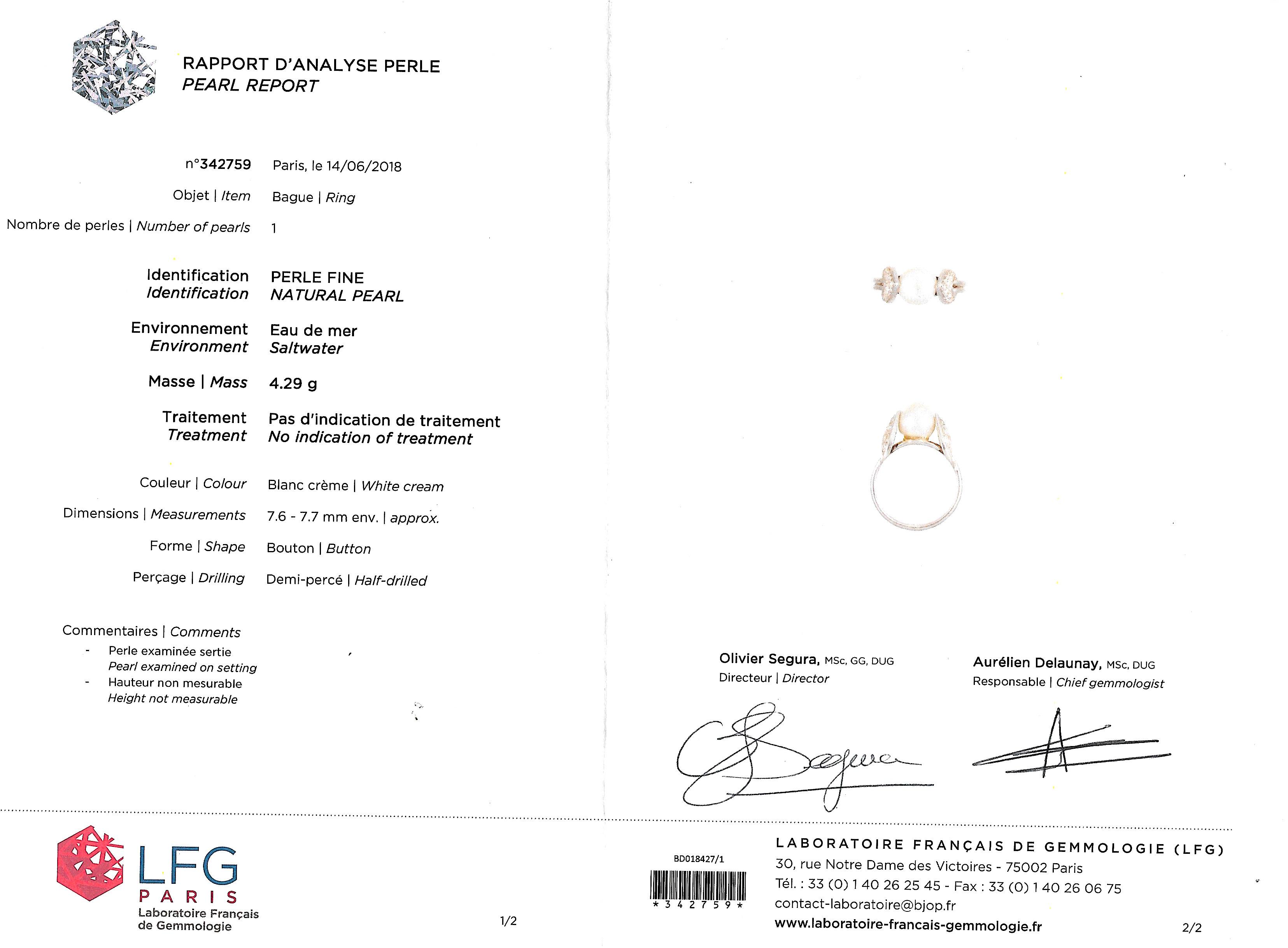 Bague Raymond Templier Art Déco perle fine (certificat LFG) diamants-4