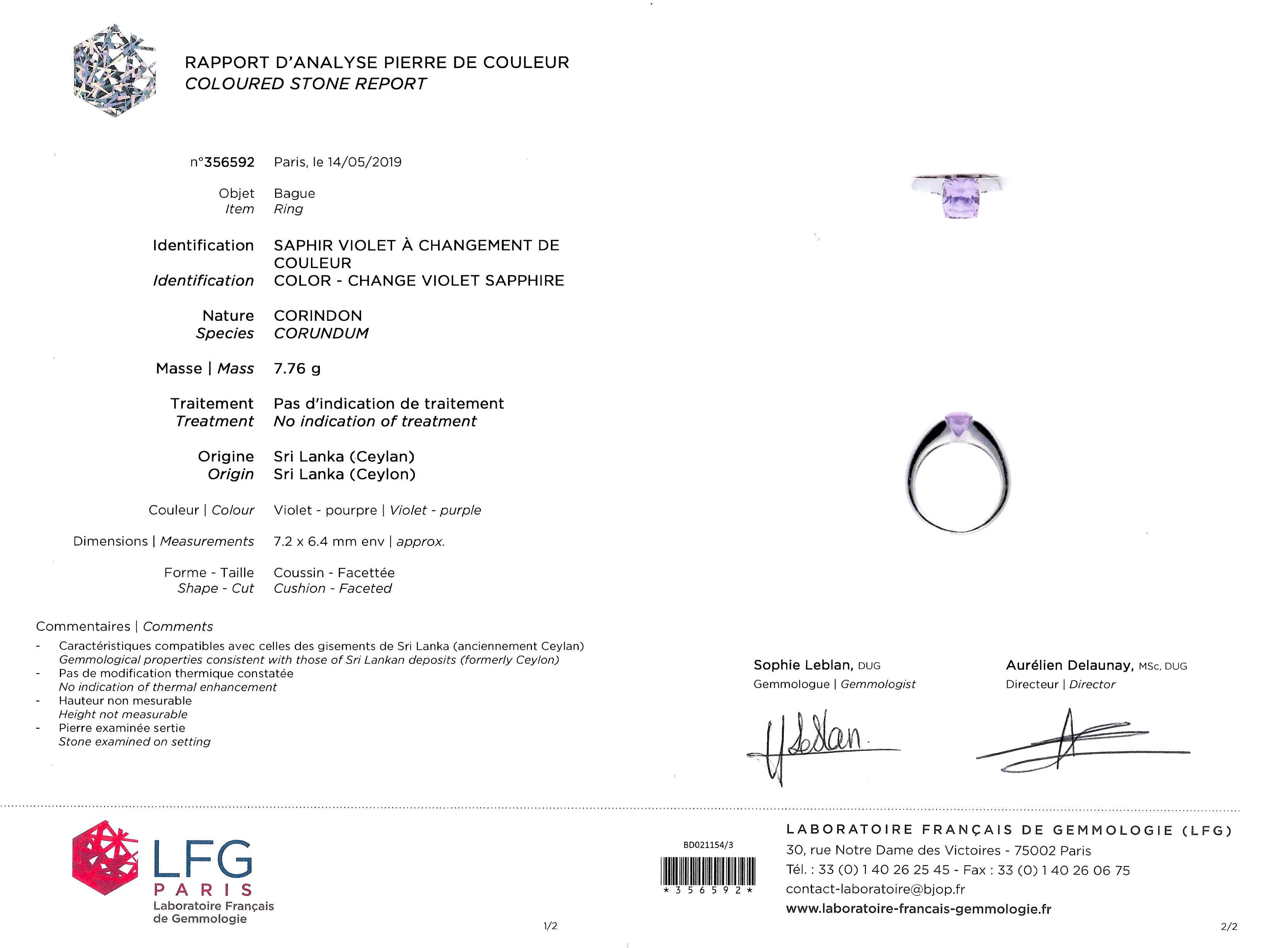 Bague Boucheron saphir naturel à changement de couleur (certificat LFG)-2