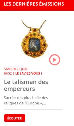 A écouter : La chronique de Vivianne Perret sur RCF national « Le Talisman des empereurs »