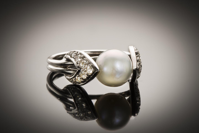 Bague Raymond Templier Art Déco perle fine (certificat LFG) diamants-2