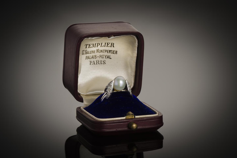 Bague Raymond Templier Art Déco perle fine (certificat LFG) diamants-1
