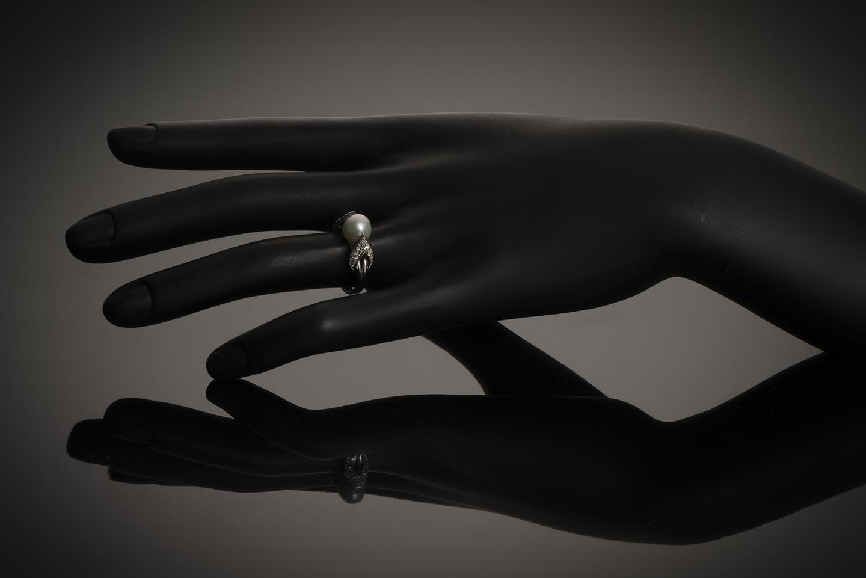 Bague Raymond Templier Art Déco perle fine (certificat LFG) diamants-3