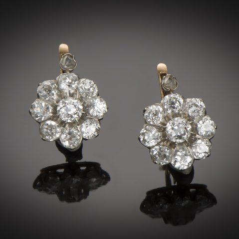 Boucles d'oreilles fin XIXe siècle diamants (2,20 carats)