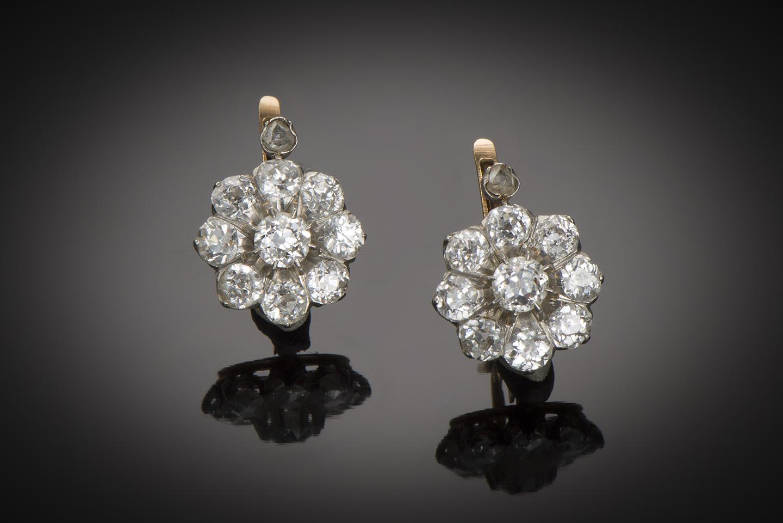 Boucles d'oreilles fin XIXe siècle diamants (2,20 carats)-1