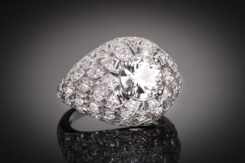 Bague Art Déco (vers 1930) diamants 3,50 carats dont central 2,10 carats (certificat LFG)-1