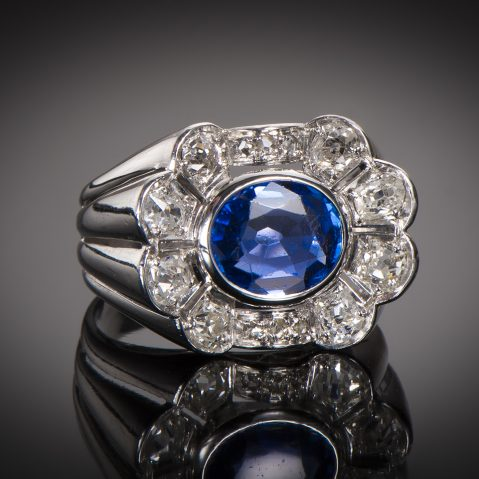 Bague Art Déco saphir birman naturel (certificat) diamants