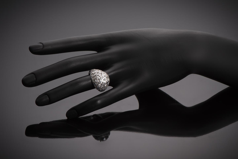 Bague Art Déco (vers 1930) diamants 3,50 carats dont central 2,10 carats (certificat LFG)-2