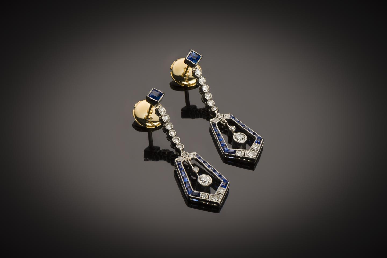 Boucles d'oreilles Art Déco diamants saphirs-1
