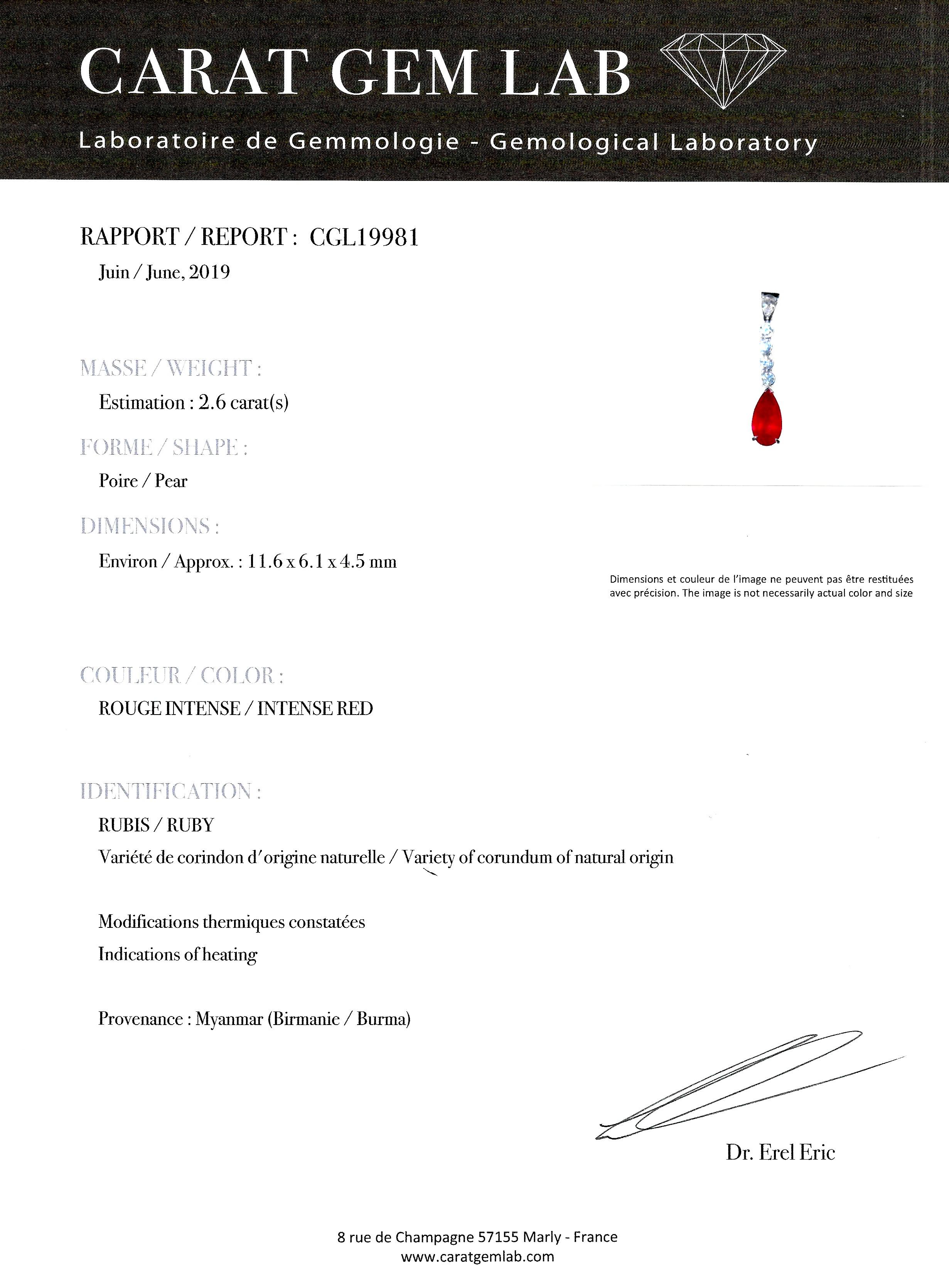 Pendentif rubis birman rouge intense (2,60 carats – Certificat Carat Gem Lab) diamants-2