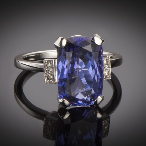 Bague tanzanite (6,90 carats) diamants
