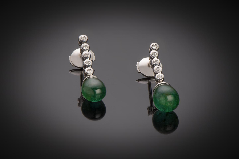 Boucles d'oreilles émeraudes cabochon diamants-1