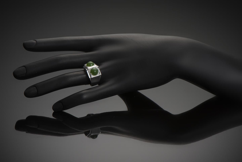 Bague Art Déco jade diamants-3