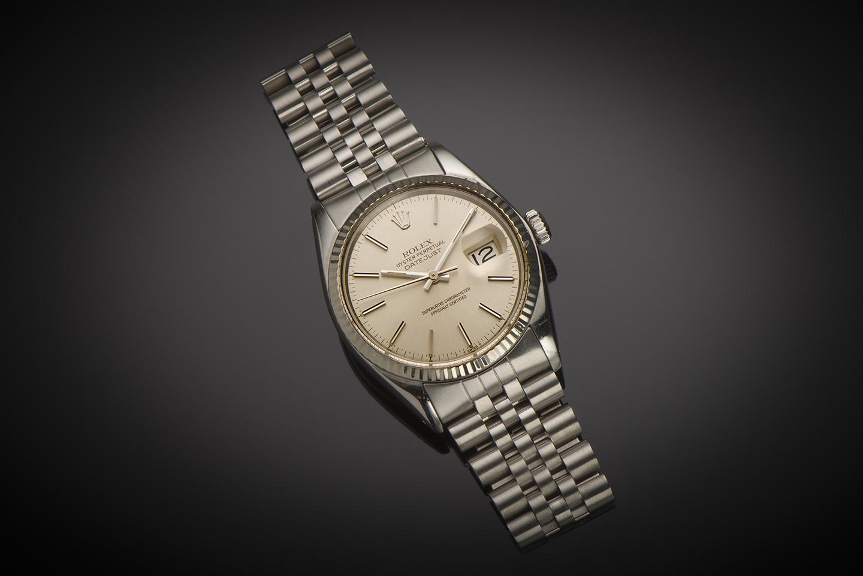 Montre Rolex Datejust vintage 1978 acier or gris-1