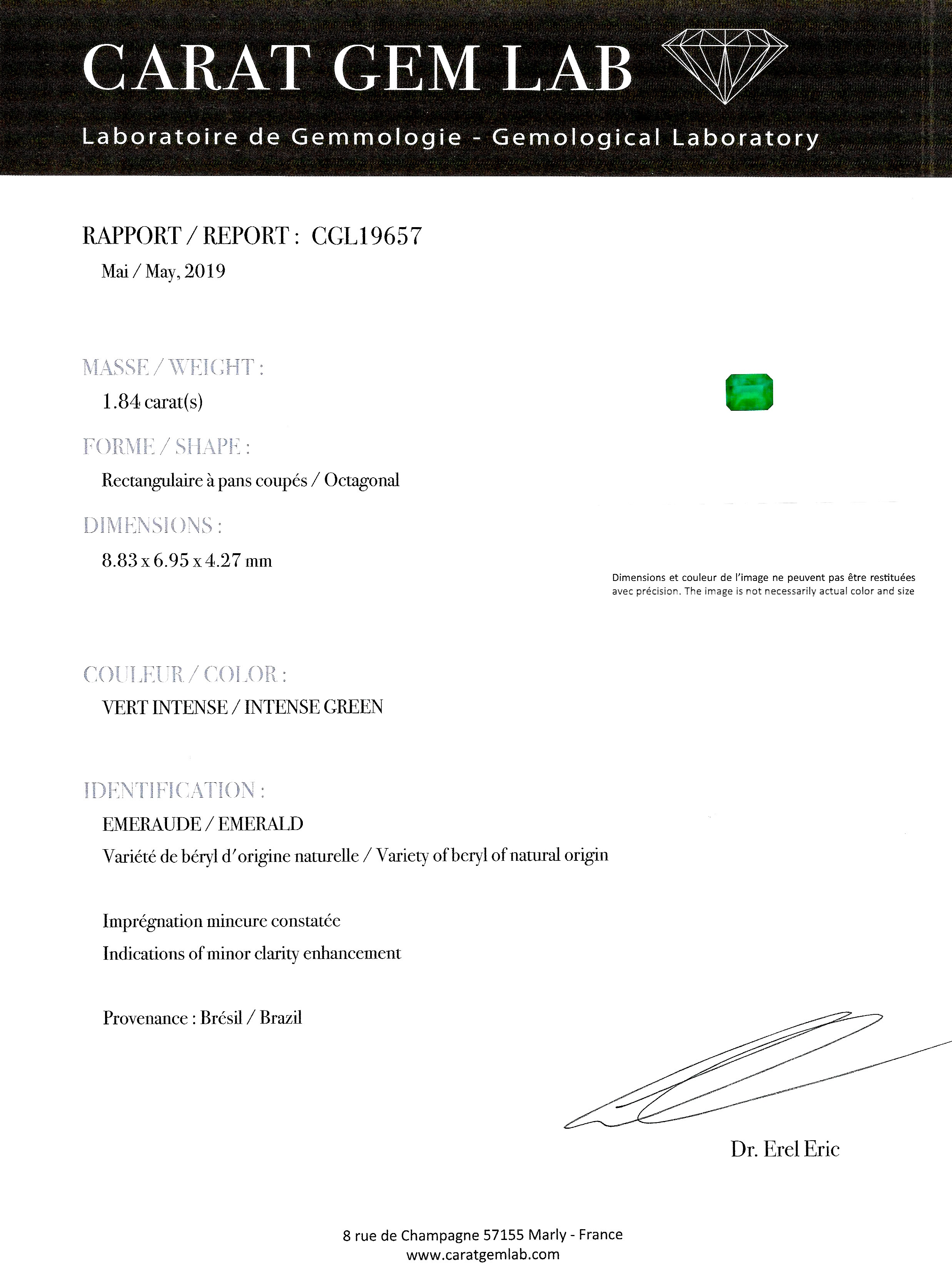 Bague Art Déco émeraude vert intense (certificat CGL) diamants-4