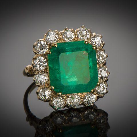 Bague émeraude vert intense 10 carats Colombie (Certificat CGL) diamants