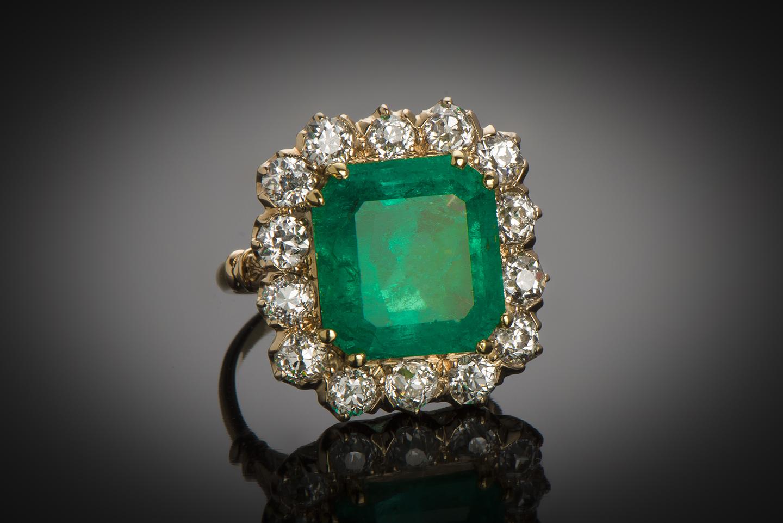Bague émeraude vert intense 10 carats Colombie (Certificat CGL) diamants-1