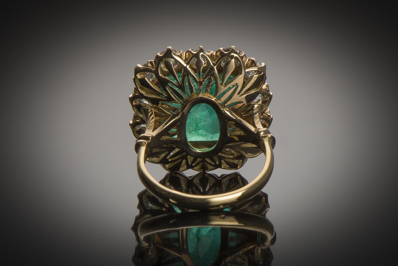 Bague émeraude vert intense 10 carats Colombie (Certificat CGL) diamants-2