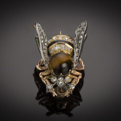 Grande broche émaillée abeille diamants fin XIXe siècle (35 mm x 25 mm)