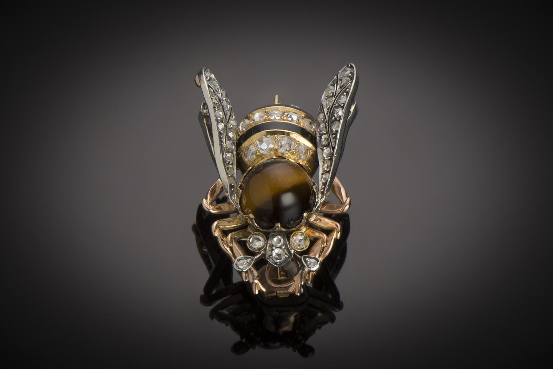 Grande broche émaillée abeille diamants fin XIXe siècle (35 mm x 25 mm)-1