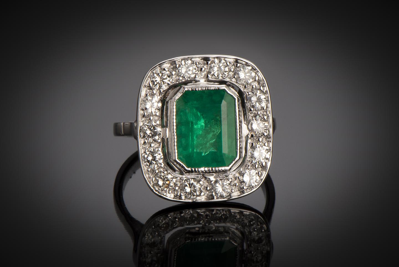 Bague Art Déco émeraude vert intense (certificat CGL) diamants-1