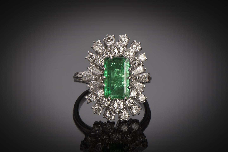 Bague émeraude (certificat CGL) diamants-1
