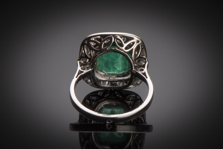 Bague Art Déco émeraude vert intense (certificat CGL) diamants-2