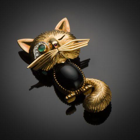 Broche Van Cleef & Arpels « chat malicieux » vintage vers 1950 (poinçon de maître Pery & Fils)