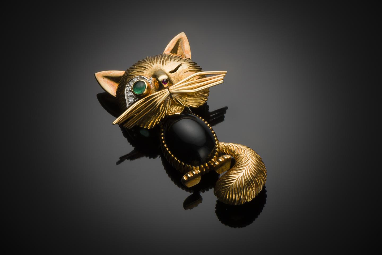 Broche Van Cleef & Arpels « chat malicieux » vintage vers 1950 (poinçon de maître Pery & Fils)-1