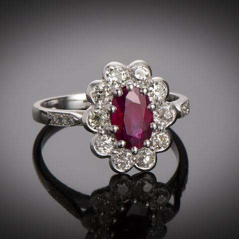 Bague rubis diamants