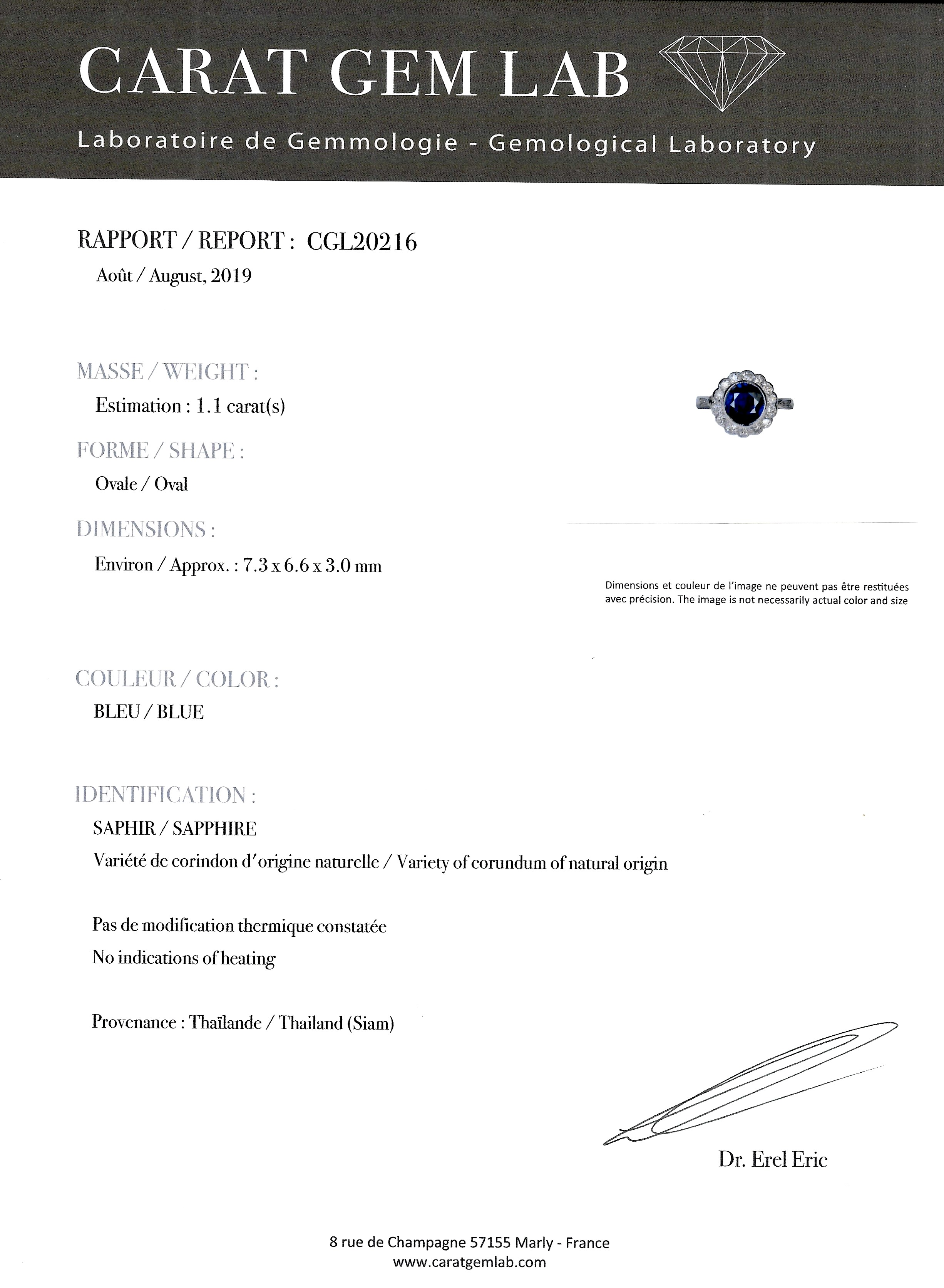 Bague Art Déco saphir naturel (certificat CGL) diamants-3
