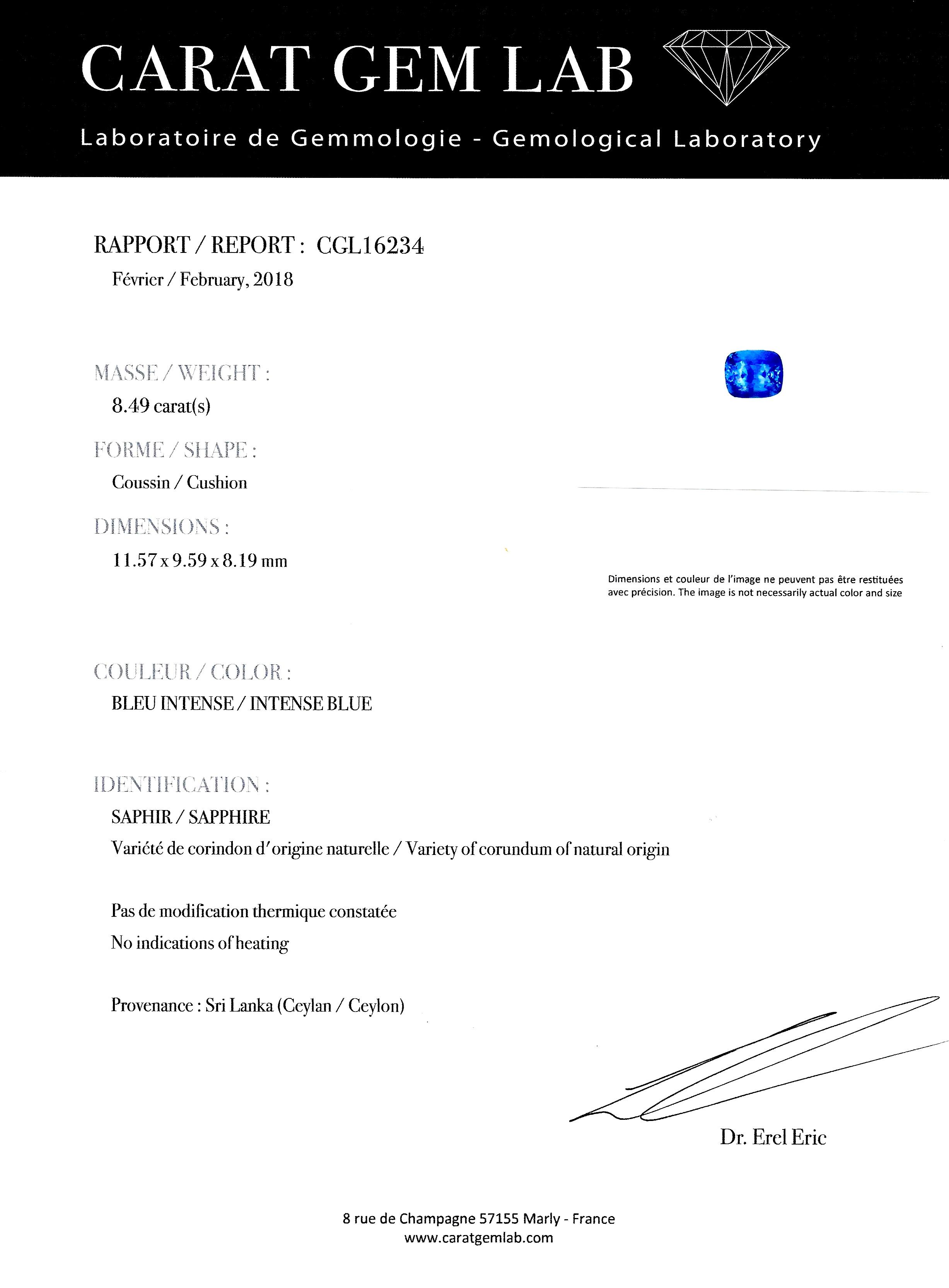 Bague saphir coussin naturel bleu intense (8,49 carats – Certificat CGL) diamants-3
