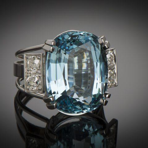 Bague aigue-marine Santa Maria (15,27 carats, certificat CGL) diamants
