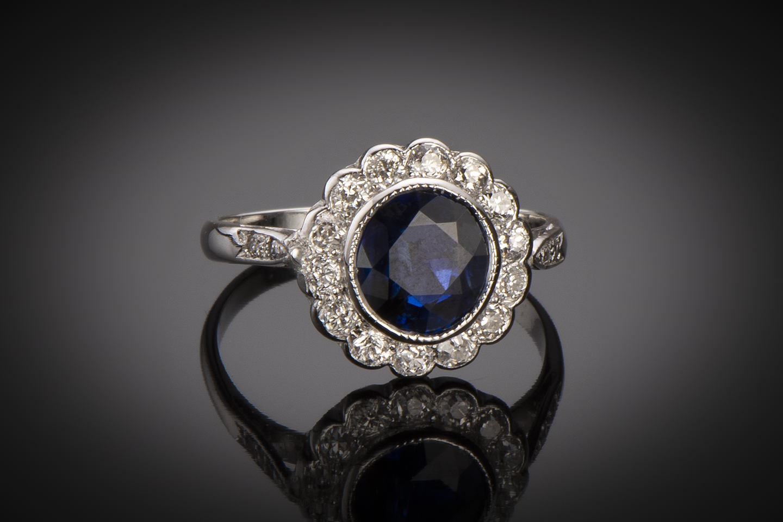 Bague Art Déco saphir naturel (certificat CGL) diamants-1