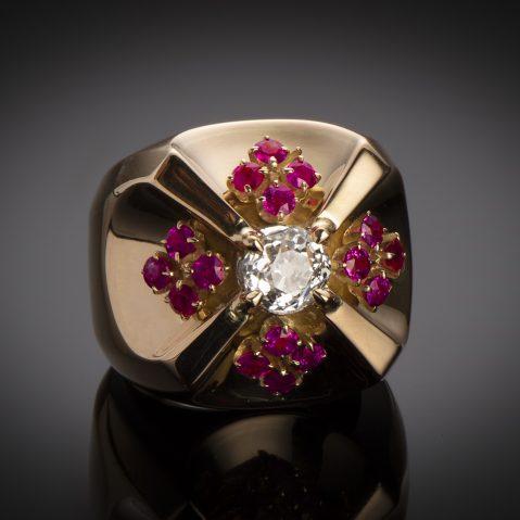 Bague vers 1940 diamant rubis