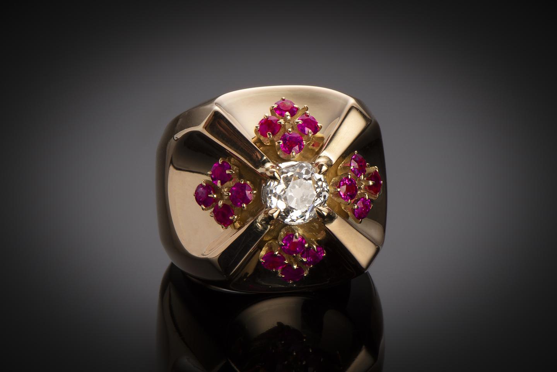 Bague vers 1940 diamant rubis-1