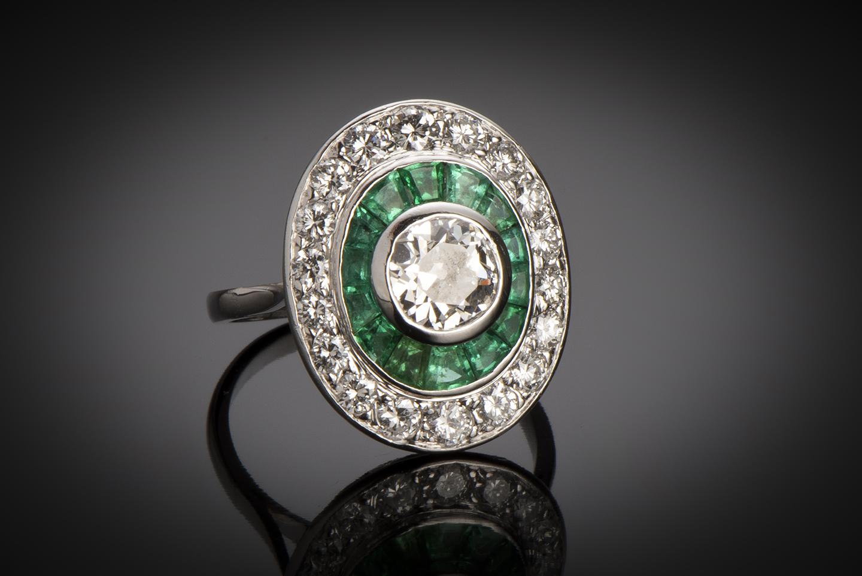 Bague diamants émeraudes calibrées Art Déco (vers 1930)-1