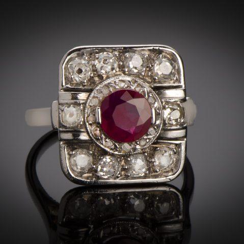 Bague Art Déco rubis (rouge intense – certificat CGL) diamants platine