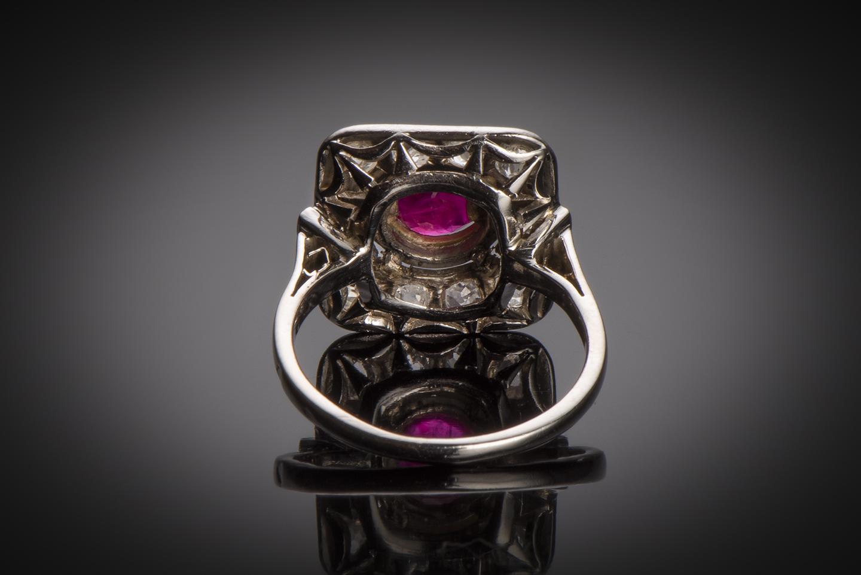 Bague Art Déco rubis (rouge intense – certificat CGL) diamants platine-2