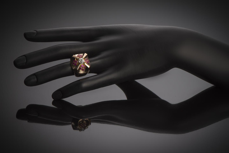 Bague vers 1940 diamant rubis-2