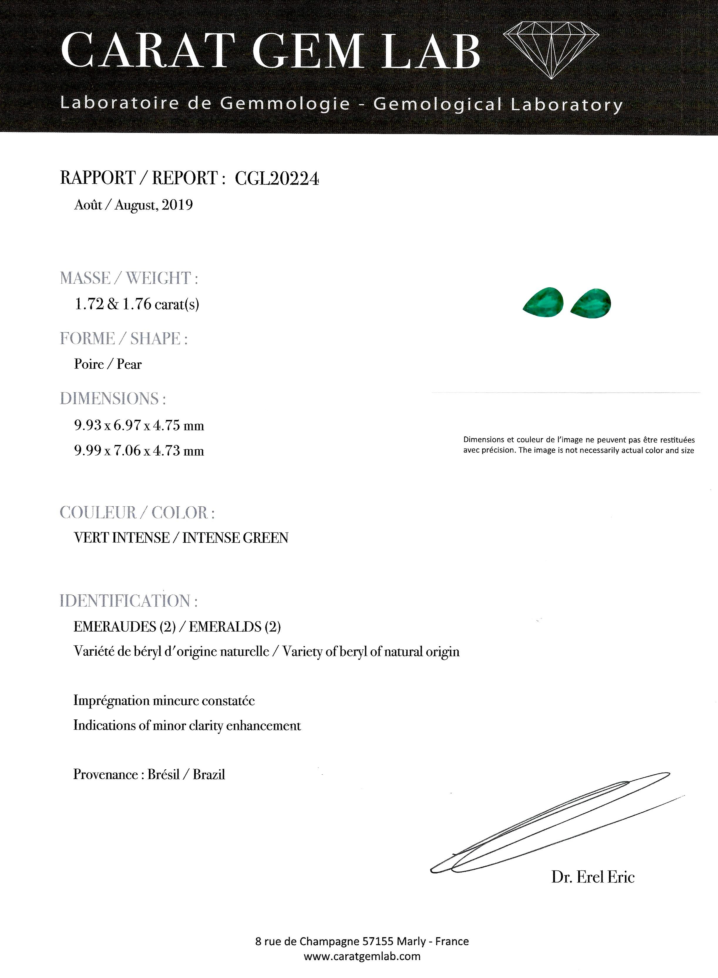 Boucles d'oreilles émeraudes vert intense 3,48 carats (certificat CGL) diamants-2