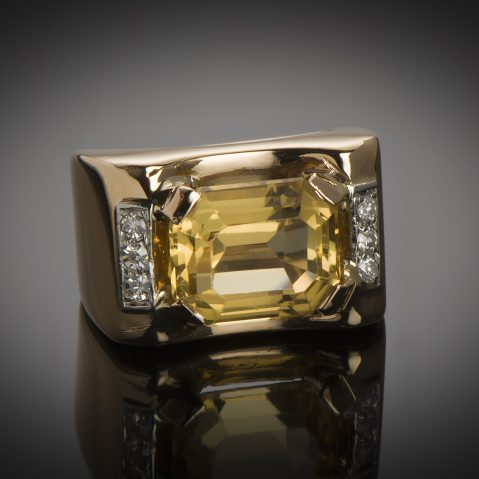 Bague citrine diamants vers 1940