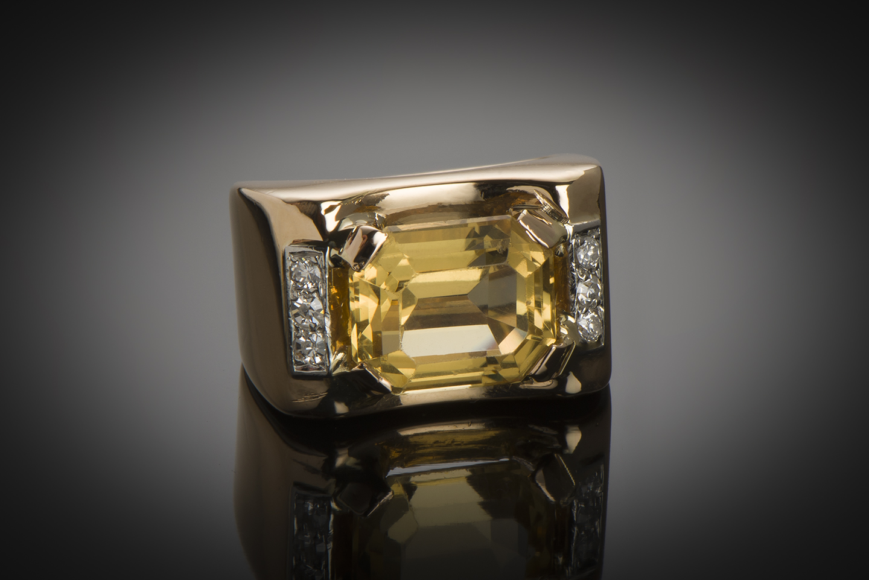 Bague citrine diamants vers 1940-1