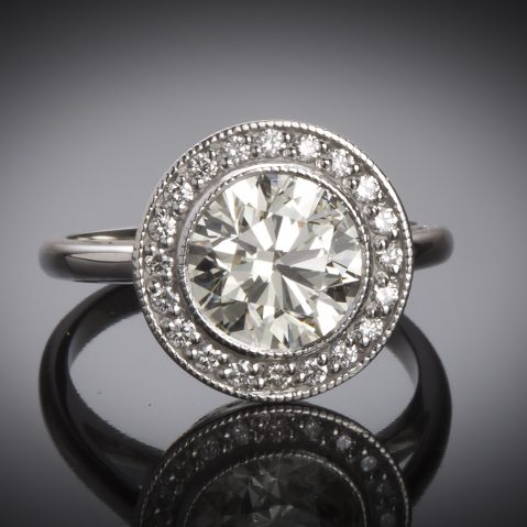 Bague diamant brillant central de 2,36 carats (certificat LFG)
