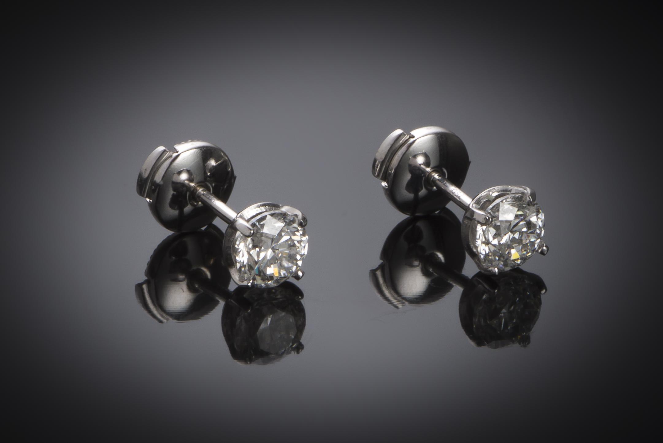 Boucles d'oreilles diamants (1,81 carat – Certificat IGI)-1
