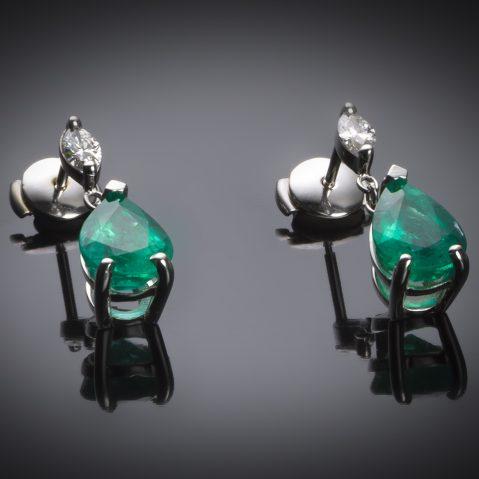 Boucles d'oreilles émeraudes vert intense 3,48 carats (certificat CGL) diamants