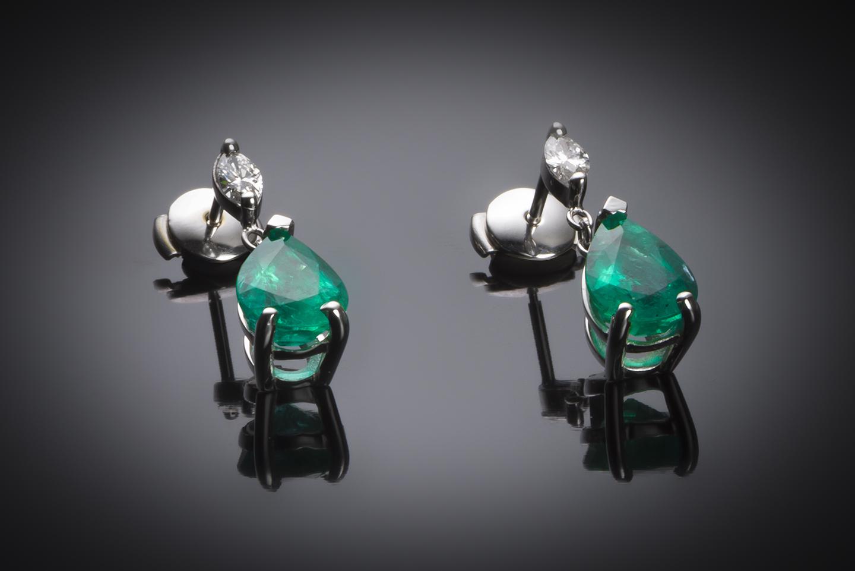 Boucles d'oreilles émeraudes vert intense 3,48 carats (certificat CGL) diamants-1